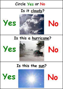 Weather Activity for Special Education - Yes No Questions