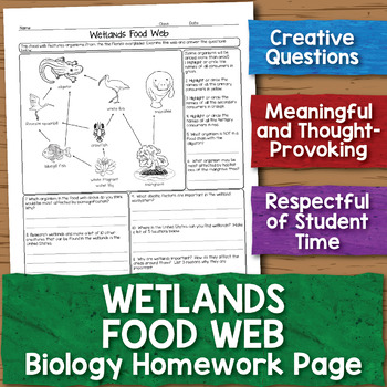 Wetlands Food Web Biology Homework Worksheet