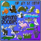 Wetlands Habitat Doodles digital clip art (BW and Color PN