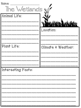 Wetlands Biome/Habitat Research Packet