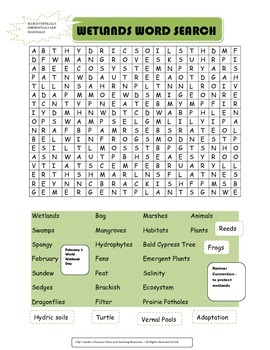 Wetlands Word Search