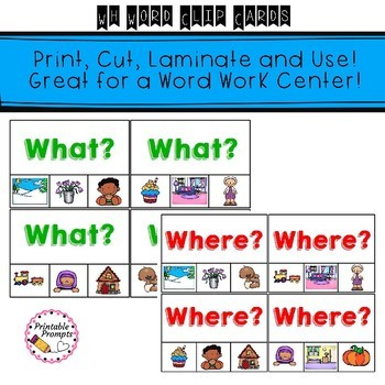 Phonics Clip Cards- WH Question Words