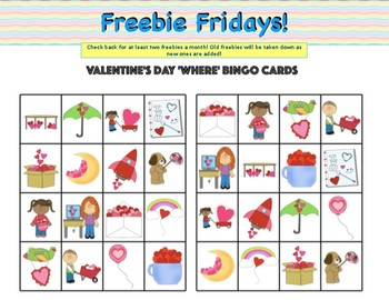 Wh- Question Valentine's Day Bingo: 'Who' & 'Where' Questions