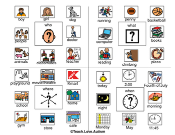 wh question visual by teach love autism teachers pay teachers