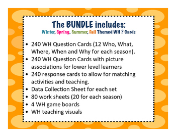 Wh Questions ~ 4 Seasons Bundle