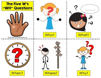 Wh Questions Bookmarks and Posters Free from Teacher Gems
