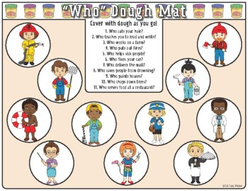 Wh- Questions Dough Mats (Who, What, Where, When, Why) for playdoh