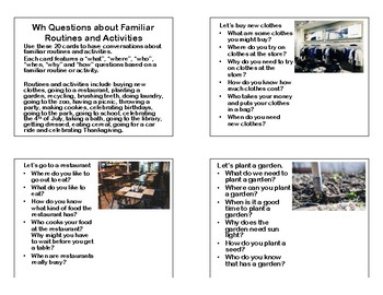 Wh Questions For Familiar Routines and Activities