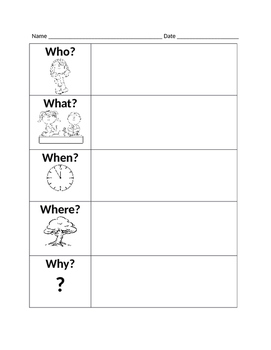 Wh-Questions Graphic Organizer (Summarizing)