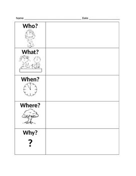 Wh-Questions Graphic Organizer (Summarizing)