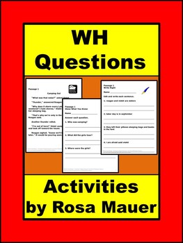 Wh Questions Literacy Packet