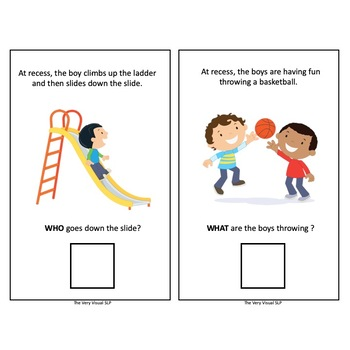 """Adapted Book """"Outdoor Recess"""" Answering WH Questions Speech Language Therapy"""