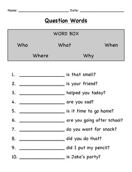"""Wh"" Questions Worksheet Bundle"