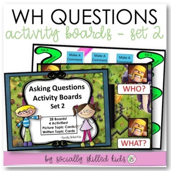 """Wh"" Questions Activity Boards~ Set 2"