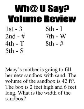 Wh@ U Say Volume Review