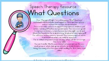 Wh (What Questions) - Community Helpers Theme - Speech Therapy Resource