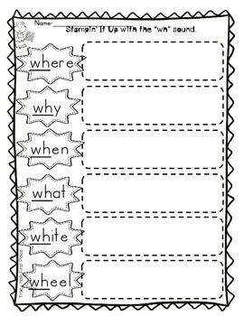 Wh Word Work Spelling Phonics-Freebie included in preview.