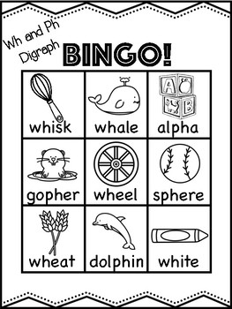 Wh and Ph Digraph Bingo [10 playing cards]