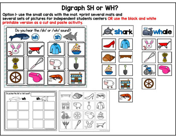 Wh and SH digraph Activities- Sea Life Theme