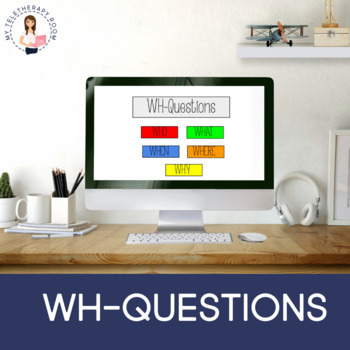 Wh-questions (who, what, when, where, why) (No print, Boom Card Lesson)