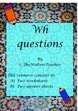 Wh questions worksheets in English
