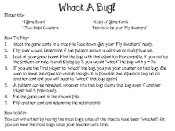 Whack A Bug! Multiplicative or Additive Game or Task Cards