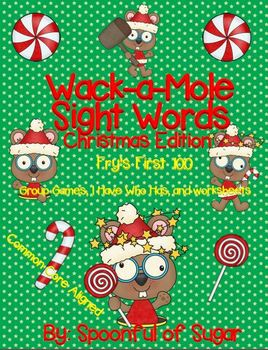 """Whack-A Mole"" Christmas (Fry First 100, games and worksheets)"