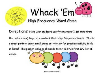 Whack 'Em High Frequency Word Game