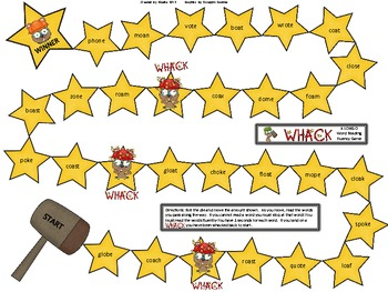Whack Word Work Pack Long O CVCe and CVVC (oa)
