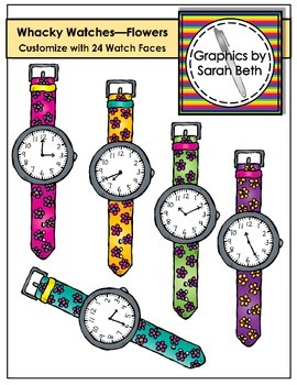 Whacky Watches (Flowers) Clipart - Telling Time Watches Graphics