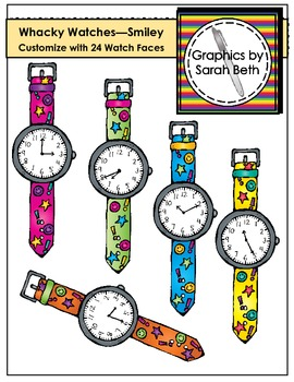 Whacky Watches (Smiley) Clipart - Telling Time Watches Clipart