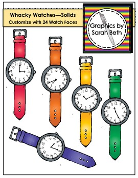 Whacky Watches (Solids) Clipart - Telling Time Watches Clipart
