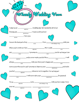 Whacky Wedding Vows: A Valentine's Day Madlib