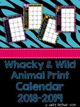 Whacky & Wild Animal Print 2016-2017 School Year Calendar