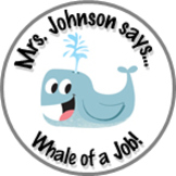Whale Achievement Stickers Personalized For Your Class