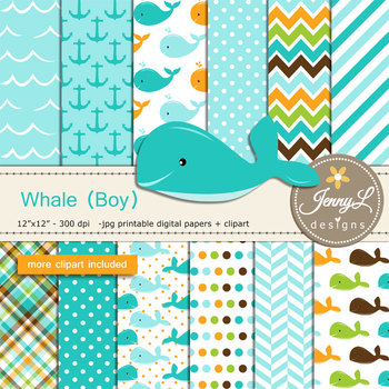 Whale Boy digital paper and clipart