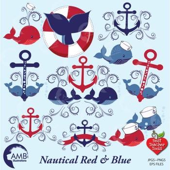 Whale Clipart, Nautical Clipart, Anchor Clipart, Ocean clipart, AMB-926