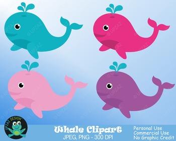 Whale Clipart {Upzaz Digital Clipart}