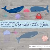 Whale Clipart, Sea Ocean Beach Graphics, Jellyfish, Shell,