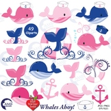 Whale Clipart in Pink and Blue Nautical Clipart, Anchor Clipart, AMB-1596