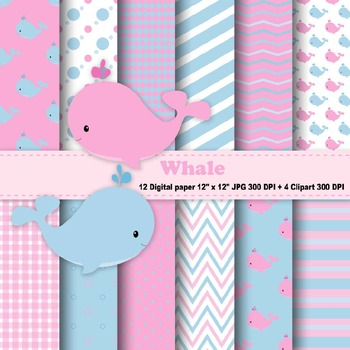 Whale Digital Paper + Clipart