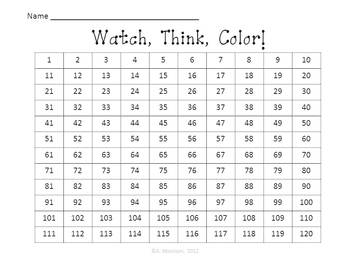 Whale Hundreds Chart to 120 - Watch, Think, Color! CCSS.1.NBT.A.1