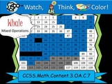 Whale Multiplication Practice - Watch, Think, Color! CCSS.3.OA.C.7