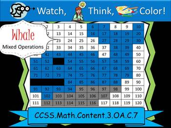 Whale Multiplication Practice - Watch, Think, Color! CCSS.