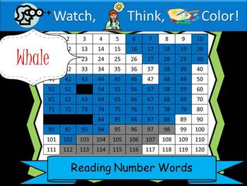 Whale Reading Number Words - Watch, Think, Color Game!