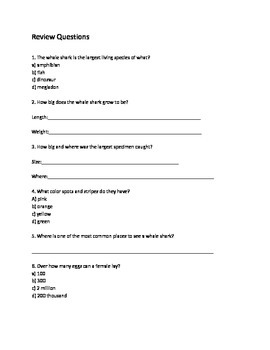 Whale Shark - Review article questions vocabulary word search