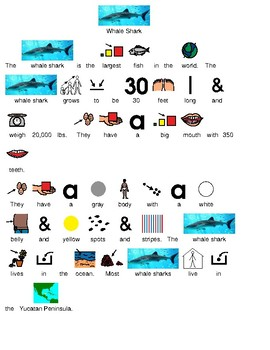 Whale Shark - picture supported text lesson - review facts visual supports PDF