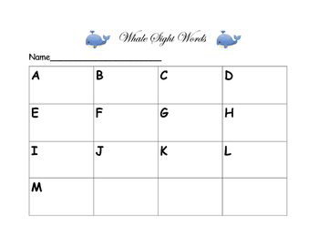 Whale Sight Words
