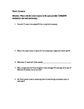 Whale Talk Chapter 1 Comprehension Quiz