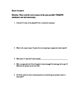 Whale Talk Chapter 1 Comprehension Quiz